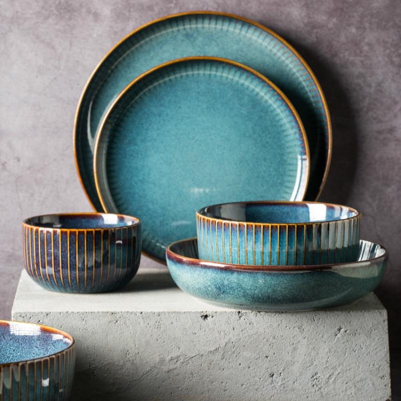 >Creative Retro <font><b>Nordic</b></font> <font><b>Style</b></font> Kiln Glazed <font><b>Ceramic</b></font> Rice Salad Bowl Soup cup Round Dish Plate Tableware YHJ011505