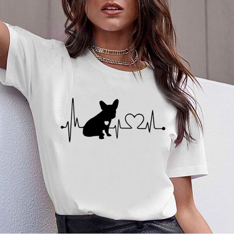 Maycaur Korea Ulzzang French Bulldog Print Tshirts Summer Short Sleeve Tops Cute Dogs Printed Tees Fashion Casual O-neck T-shirt