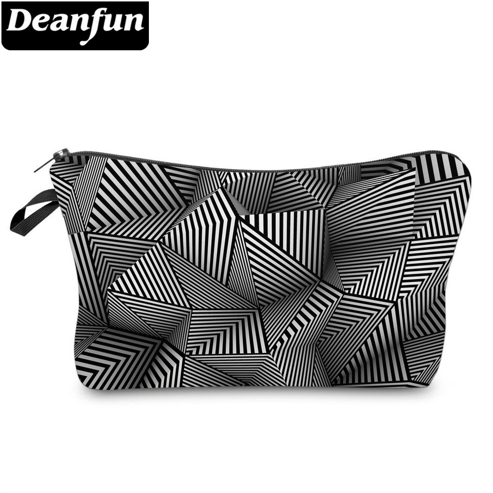 Deanfun Cosmetic Bags 3D Printed Striped Bags Zipper Womens Elegant Makeup Bag Mesh Organizer Pouches 51959