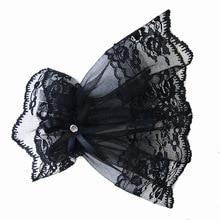 Women Short Arm Sleeves Gothic Fingerless Gloves Bowknot Fashion Glove Lace Wrist Cuffs Bracelets Solid Black White Gloves