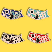 Cartoon Lucky Japan Koi Fish Goldfish Hard Enamel Lapel Pins Badges Brooches Animal Pins Collection for Women Kids Cute Gift(China)
