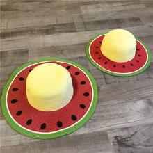 Новый дизайн летняя соломенная шляпа Пикник дыни с узором на