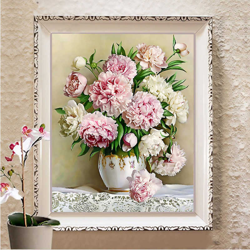 Needlework Flowers DIY DMC Peony Vase painting pattern on the fabric Cross stitch Sets For Embroidery kits chinese Cross-Stitch