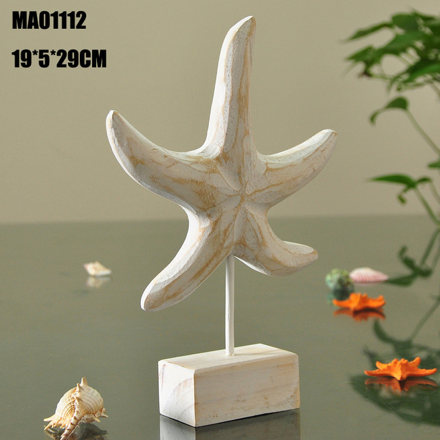 Mediterranean Style Wood Crafts Home Decoration Accessories Wooden Crafts Starfish Conch Hippocampus Wood Carving Marine Decor 3