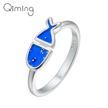 Lovely Blue Fish Rings Female Animal Silver Finger Women Ring Wedding Birthday Gift Christmas Party Ocean Beach Jewelry Girls(China)