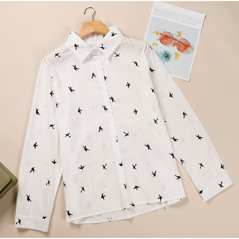 Hc3475e5f1686430bbf276eceb8bbb3f90 - Women's Birds Print Shirts 35% Cotton Long Sleeve Female Tops Spring Summer Loose Casual Office Ladies Shirt Plus Size 5XL