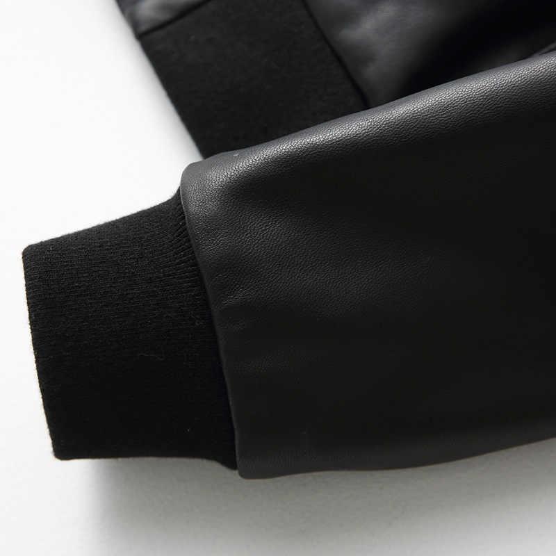 Boollili 100% Echte Schapenvacht Jas Vrouwelijke Lederen 2020 Lente Korte Lederen Zwarte Baseball Jacket Vrouwen
