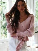 Розовый женский свитер с перекрестным v образным вырезом sashaes
