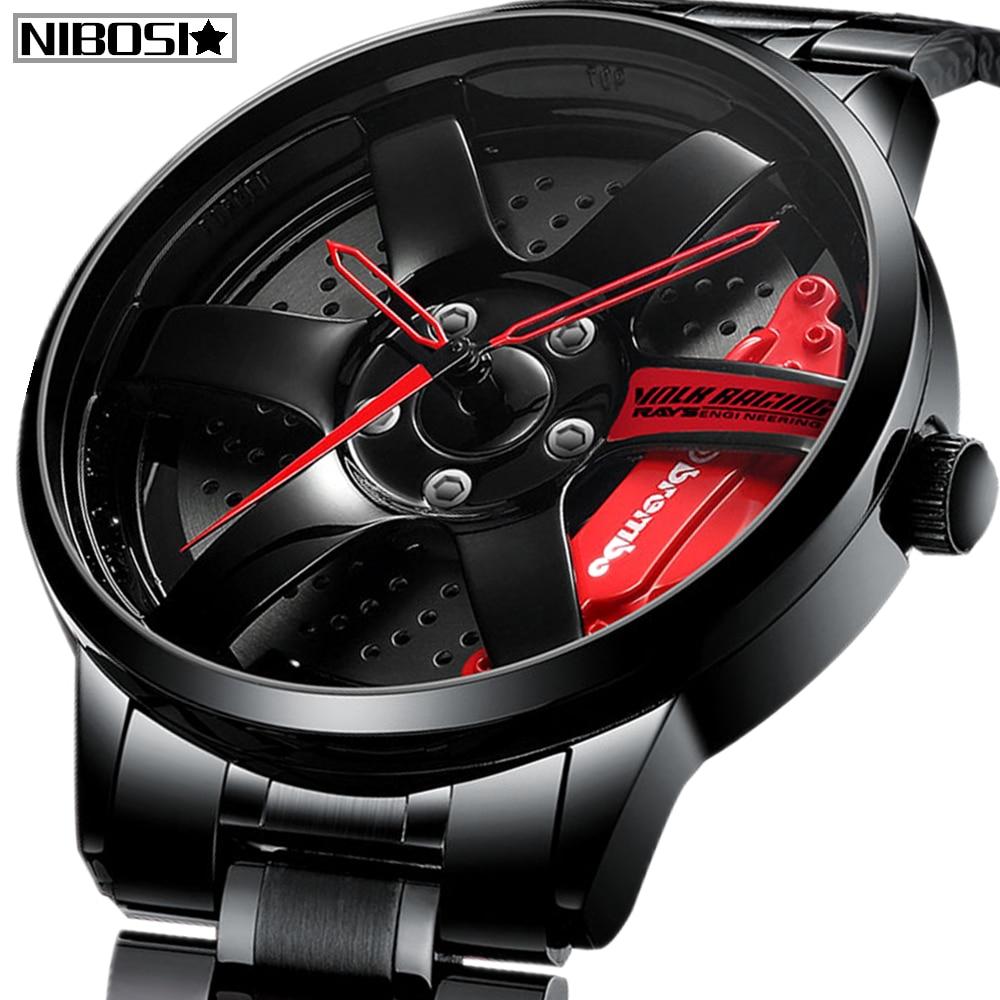 NIBOSI Wheel Rim Hub Watches Men Custom Design Sport Car Rim Hub Men Watch Stainless Steel Waterproof Creative Relogio Masculino