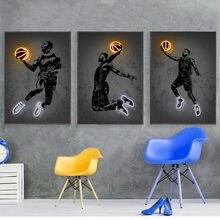 JD Art – chaussures de basket-ball néon imprimées, affiche de Sport, Art mural de rue, peinture sur toile abstraite, idée cadeau pour homme, décoration de la maison au bureau