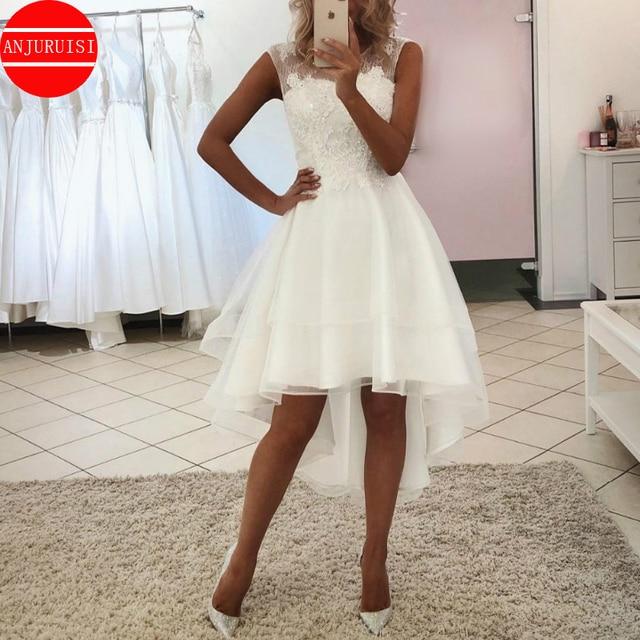 Sexy Vestido De Noiva Simple Lace Short Wedding Dress 2020 Boho High Front Low Back Beach Bridal Gown Beaded Appliques Organza 1