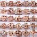 Alta qualidade 925 prata esterlina a nova série de ouro rosa cz charme contas se encaixa pandora pulseiras & colares diy accessorie