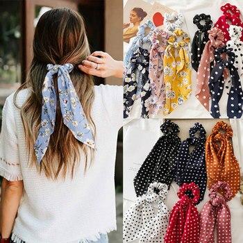 Women Streamers Scrunchies Polka Dot Floral Print Elastic Bow Hair Rope Girl Ties Korean Sweet Accessories Headwear