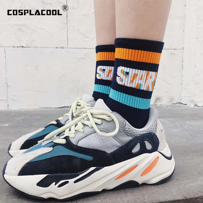 [COSPLACOOL]Creative Letter Funny Socks Women Japanese FAST PLAY Design Harajuku Street Handmade Meias Colorful Crew Sokken