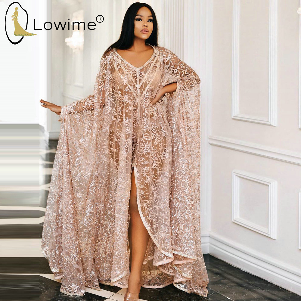 Sexy See Through African Kaftans 2020 A Line Evening Dress V Neck Robe De Soiree Prom Party Gowns