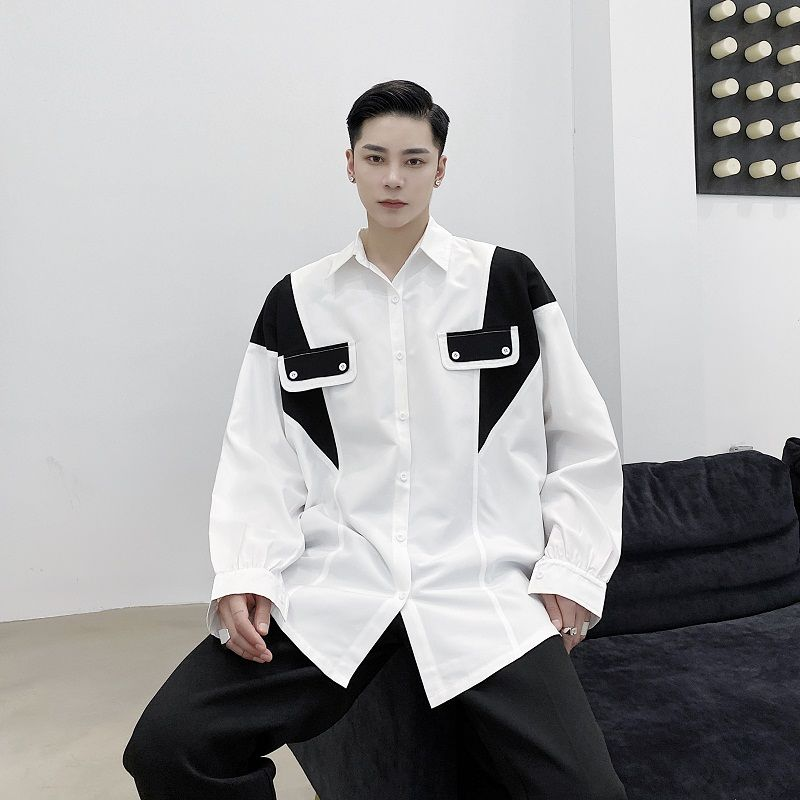 EWQ / men's wear Personalized black and white contrast color classic lapel loose long-sleeved shirt niche design tops 9Y3275