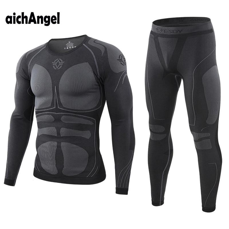 Warm Autumn Winter Long Sleeve Thermal Underwear Set Fleece Slim Fit Training Cycling Long Johns Military Top + Pants