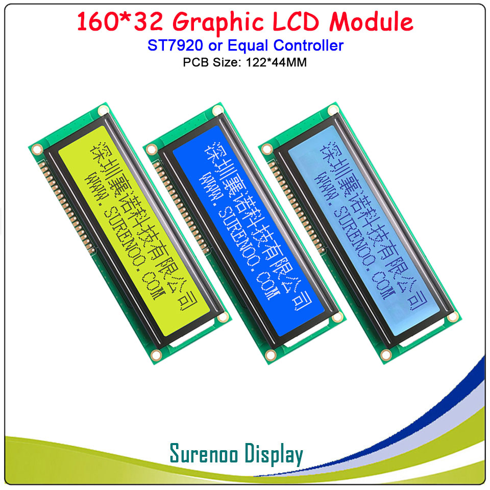 "3.5"" (PCB Size: 122*44MM) 16032 160*32 Serial SPI / Parallel Graphic LCD Module Display Screen LCM ST7920/AIP31020"