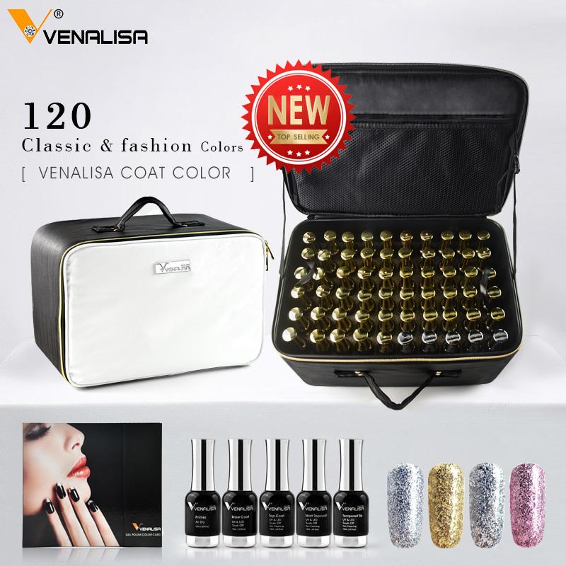 Venalisa 12ml whole set gel varish soak off led uv nail gel polish kit 12ml high quality salon base topcoat 120pcs full set bag