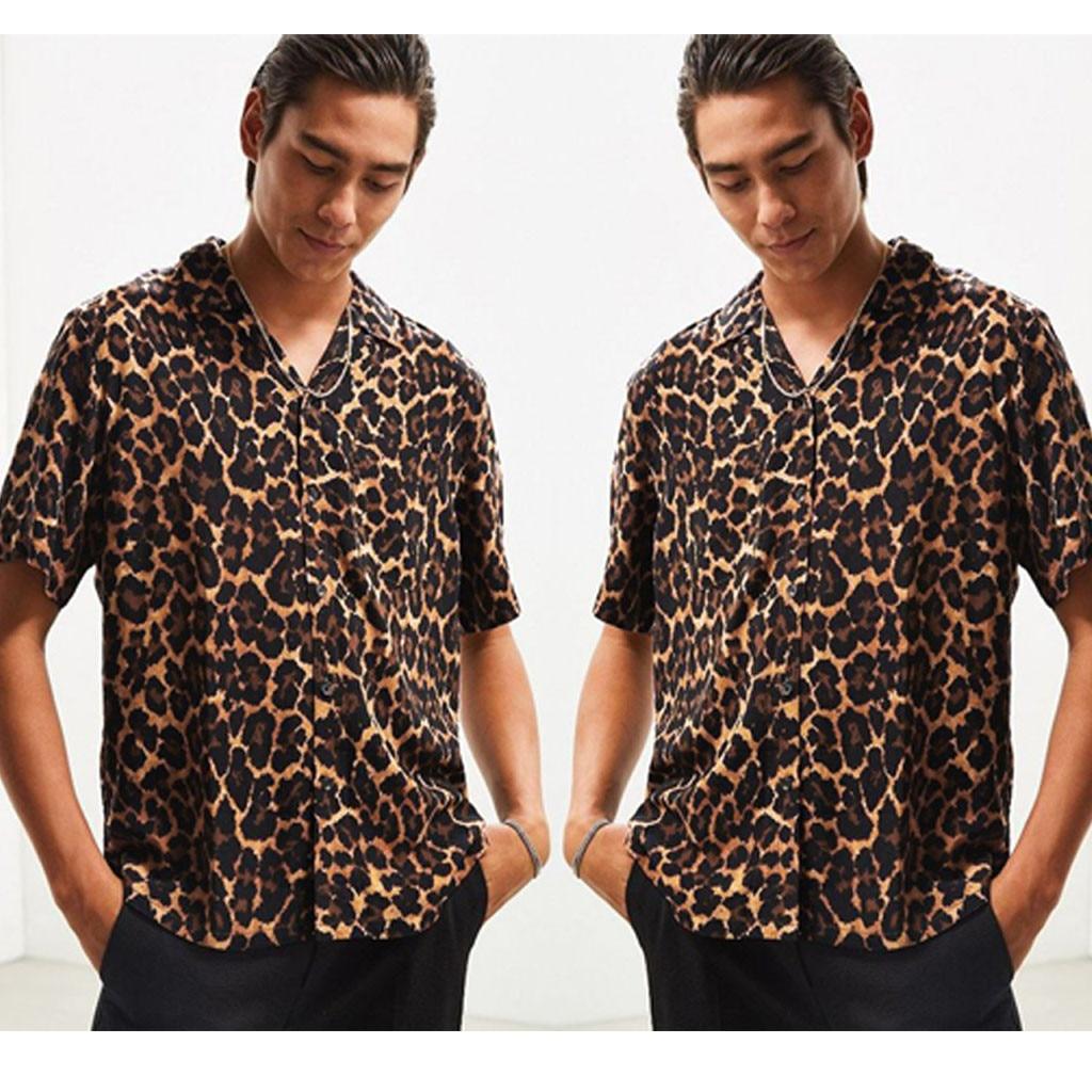 Рубашки с леопардовым принтом Мужские рубашки мужские летние модные повседневные рубашки с отворотом леопардовые Гавайские рубашки с коро...
