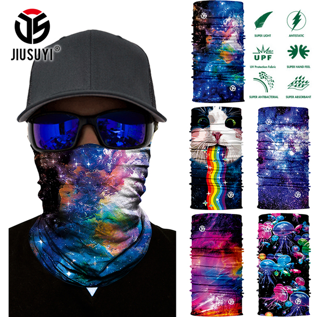 3D Galaxy Print Seamle Balaclava Scarf Neck Warmer Neck Gaiter Half Face Cover Head Bandanas Shield Headband Headwear Men Women