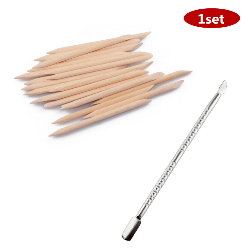 1pcs / 20pcs Double-end Nail Art Cuticle Remover Stainless Steel Manicure Pedicure Pusher Fork Scissor Trimmer 2-ways Nails Tool