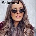 2021 новые брендовые треугольные солнцезащитные очки кошачий глаз без оправы из сплава с кристаллами блестящие Солнцезащитные очки женские ...