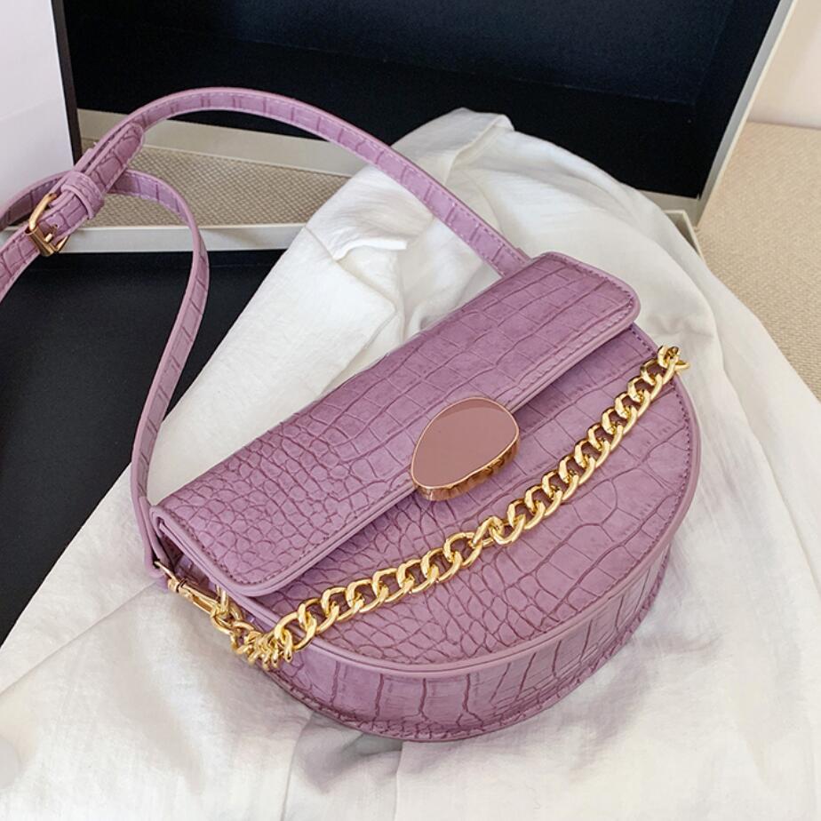 Crocodile Pattern Tote Saddle Bag 2020 Fashion New High-quality PU Leather Women's Designer Handbag Chain Shoulder Messenger Bag