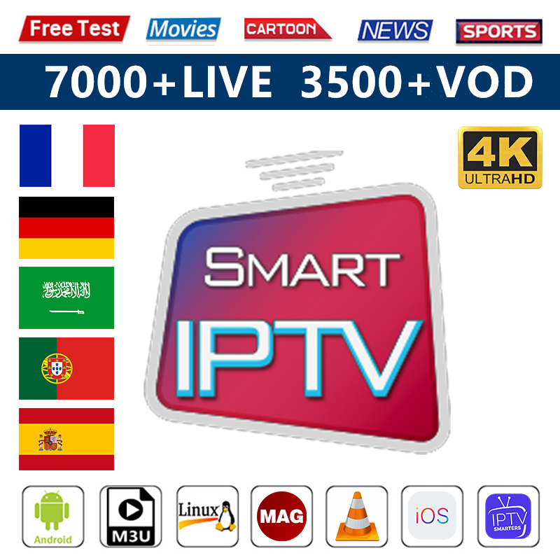 Arabic Smart IPTV France Germany Subscription 1 Year Code IPTV M3u French Turkey Spain IPTV 4K Android Smart Tv Mag IOS IP TV