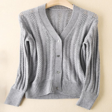 Openwork knitted  cardigan cashmere sweater for women Casual V-Neck Long Sleeve Sweater Coat Female Tops spring and autumn