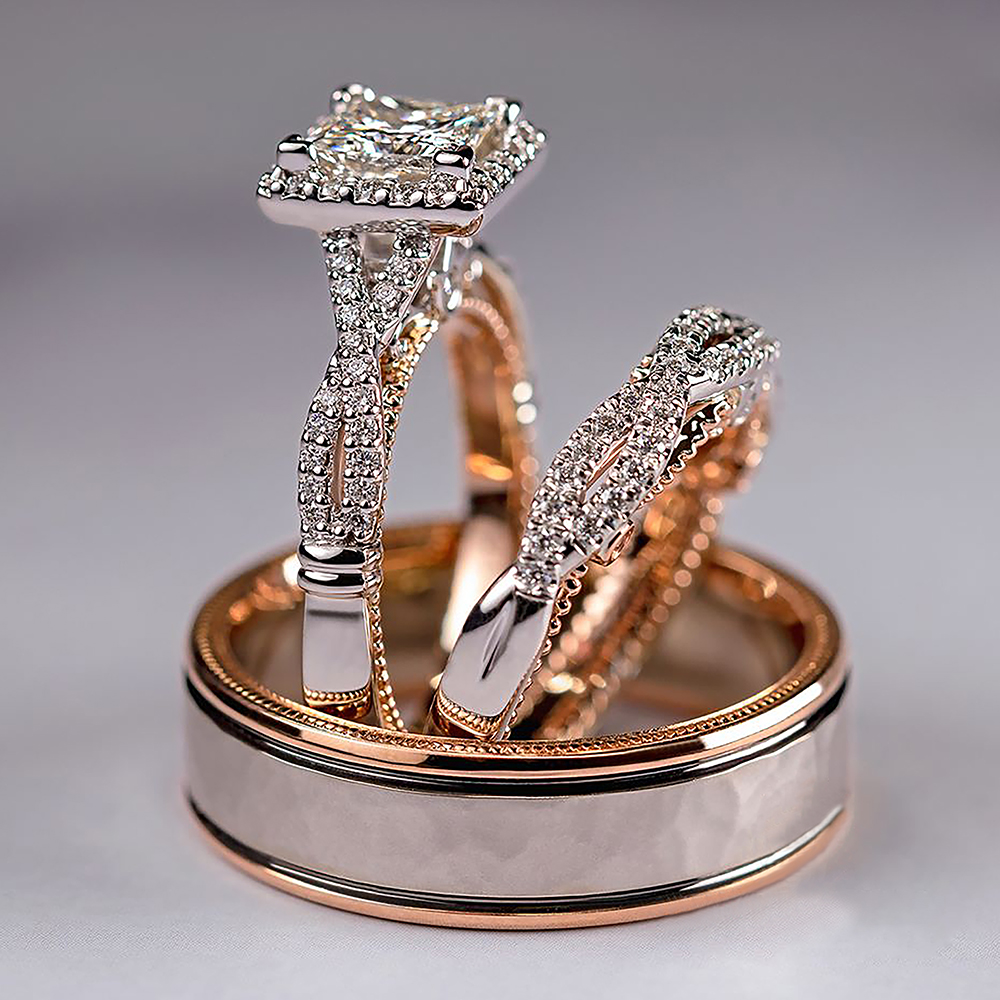 Huitan Gorgeous 3Pcs/Set Women Wedding Rings Mosaic AAA CZ Two Tone Romantic Female Engagement Rings Fashion Jewelry Top Quality