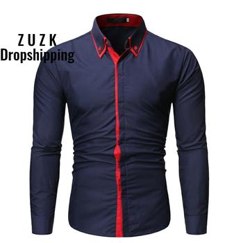 Men Shirt  New arrival Fashion Brand MenS Double Button Male Long Sleeve Shirts Casual Slim Size XXL