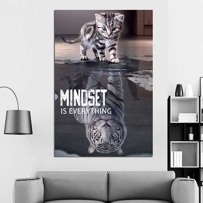 inspirational quotes poster prints wall art minoset is everything cat and tiger picture modern office wall decor