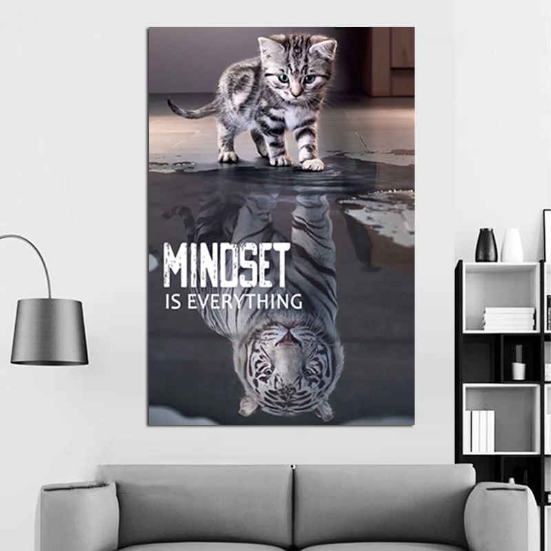 Inspirational Quotes Poster Prints Wall Art Minoset is Everything Cat and Tiger Picture Modern Office Wall Decor image