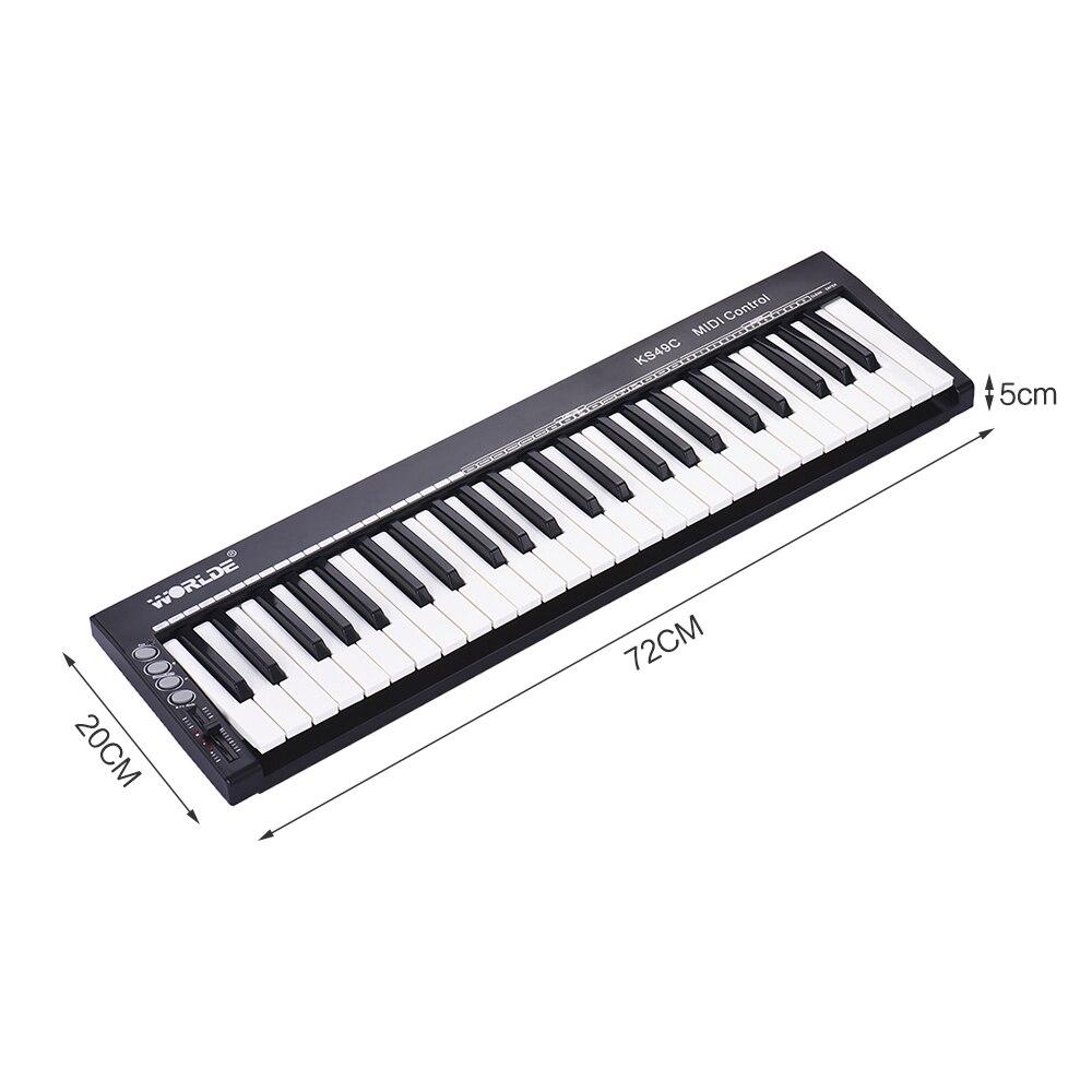 Contrôleur de clavier MIDI WORLDE USB Ultra-Portable à 49 touches avec prise à pédale 6.35mm - 6