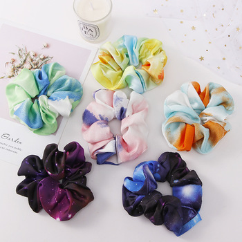 Novelty Internet Hot Style Fashion Starry Sky Color Ink Hair Tie Accessories Sweet Girl Ponytail Rope Flower Acce