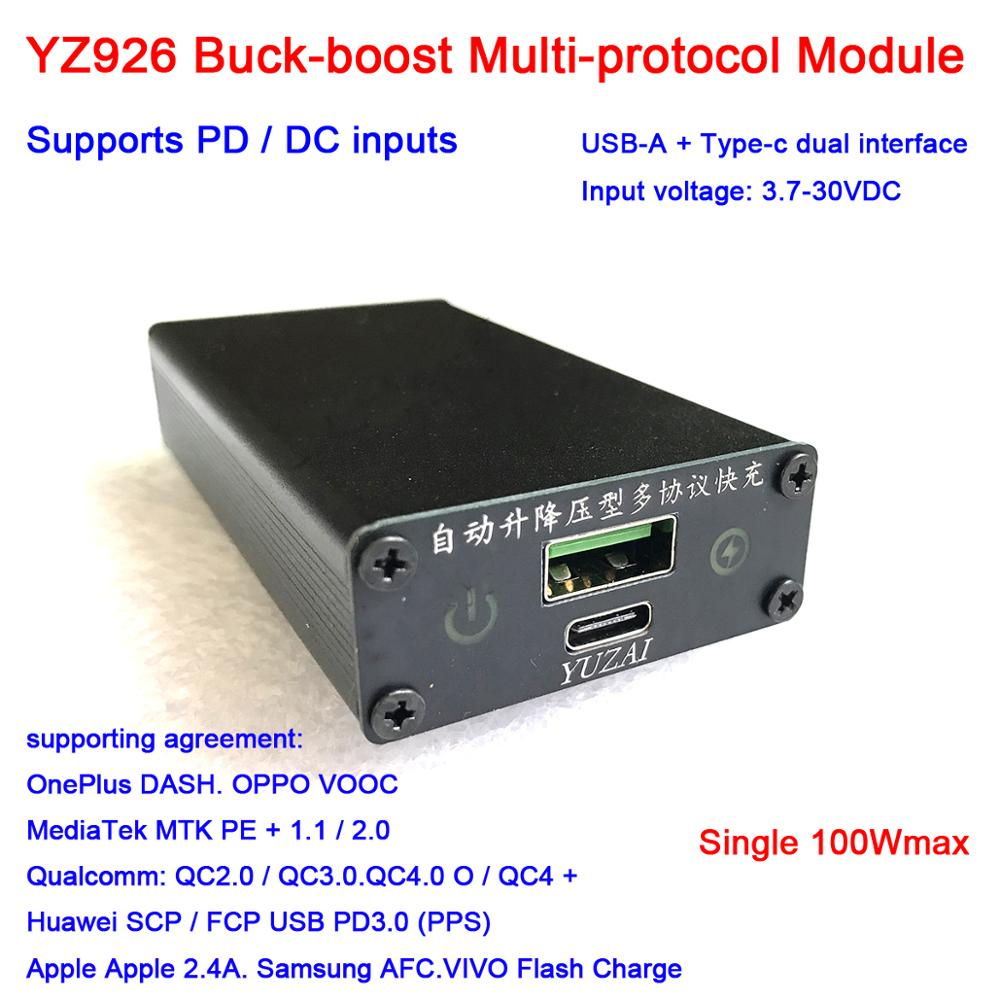 DYKB Fast Charge Module PD 100W DC QC Quick Charging Adapter  USB TYPE-C DC 12V 24V Input  FULL Protocol QC 40 3.0 Huawei SCP PD