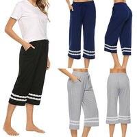 Женские пижамы, пижамы, Хлопковые Штаны, укороченные штаны для сна, регулируемые женские штаны для сна, 3FS
