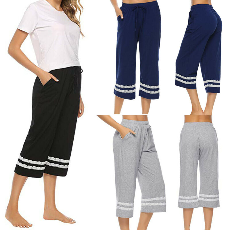 Women's Sleepwear Pajama Cotton Pants Sleep Cropped Lounge Bottoms Adjustable Women Sleep Bottoms 3FS
