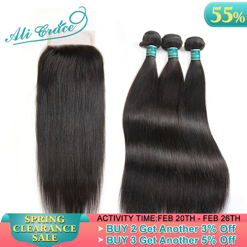 Hair Bundles Closure Ali-Grace Straight Brazilian with 6x6 5x5 Remy title=