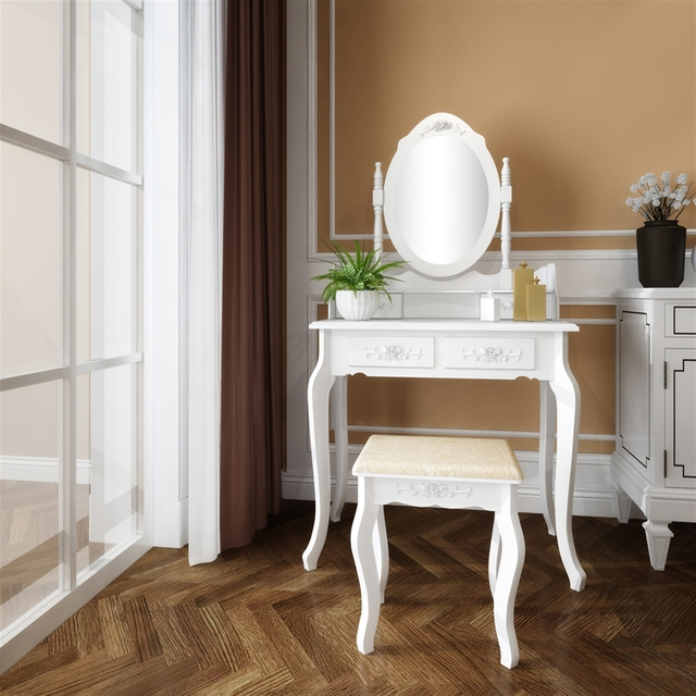 Modern Concise 4 Drawer Dressing Table, 360 Degree Rotation Pull-out Mirror, White Dressing Table with Stool 3