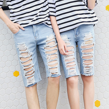 Summer Women Ripped Jeans Straight Denim Knee Length Pants Female Hole Bleached Short Jeans Lady Fashion Korean kobeinc streetwear hole ripped jeans for women flower embroidery ankle length pantalon mujer summer fashion female denim pants