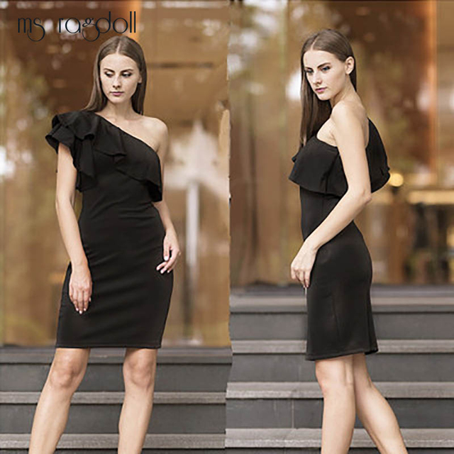 lista nueva Zapatillas 2018 encanto de costo Sexy vestido negro pequeño sin hombros elegante de fiesta verano para Mujer  Vestidos cortos Vintage con volantes