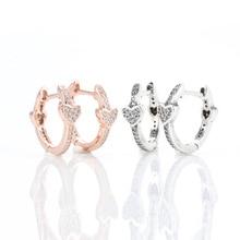 Women Earrings 925 Pure Silver Heart Studded Earrings Rose Gold Simple Heart Earrings For Women Wedding Gift Fashion Jewelry pair of stunning rose wedding earrings jewelry for women