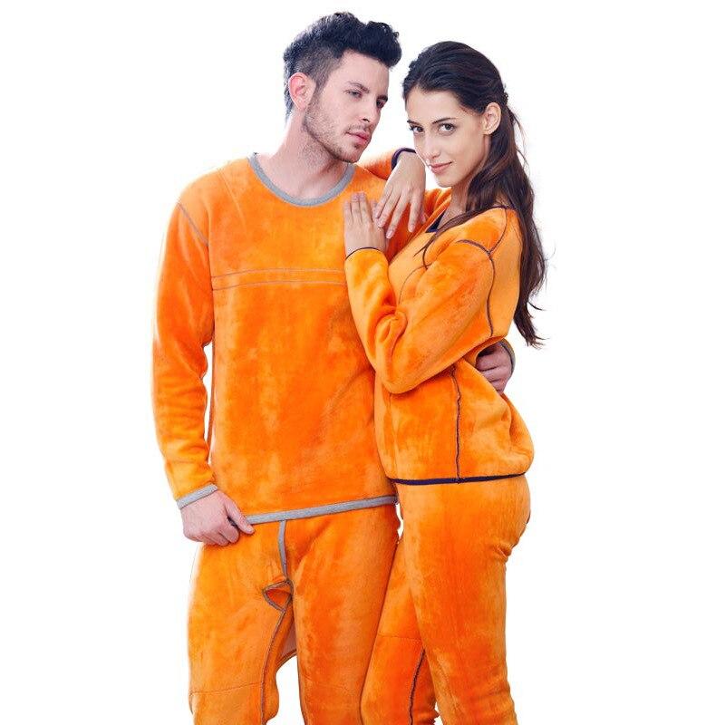 Women's Thermal Underwear Long Johns Suit Set High Quality Winter Thick Warm Fleece Couple Home Clothes Female Men Sleepwear