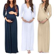 Длинное платье для беременных, женское Повседневное платье с длинным рукавом и v-образным вырезом, длинные платья для беременных, повседневное свободное платье с рюшами размера плюс, Макси-платье