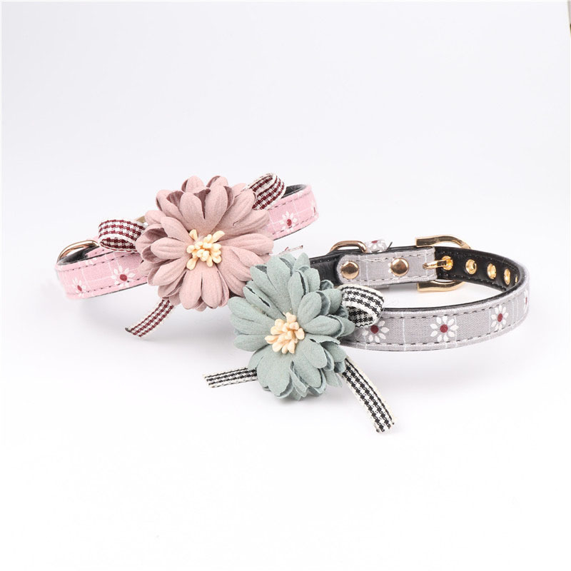 Amin Lattice Manufacturers Direct Selling Hot Selling Flower Pet Dog Collar Pu Dog Neck Ring Cat Neck Ring