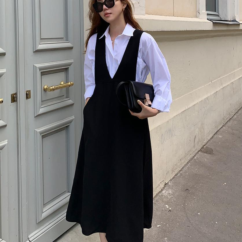 Office Lady Straps Dress Shirt Suits Sleeveless Women Dress Suits V Neck Braces Separate Matching Sets White Shirts Pockets W019