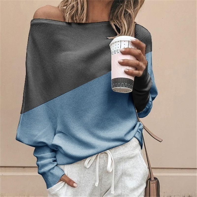 Autumn Winter Clothes Women Plus Size S-5XL Casual Shirts O Neck Patchwork Batwing Sleeve Pullovers Off Shoulder Female T-shirts 26