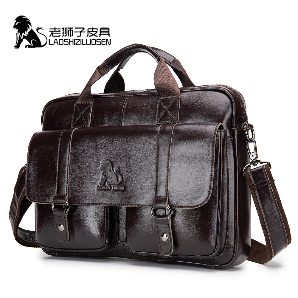 Crazy Horse Genuine Leather Laptop Bag For Men Black Brown Cow Computer Business Work Office Briefcases Messenger Document 0018